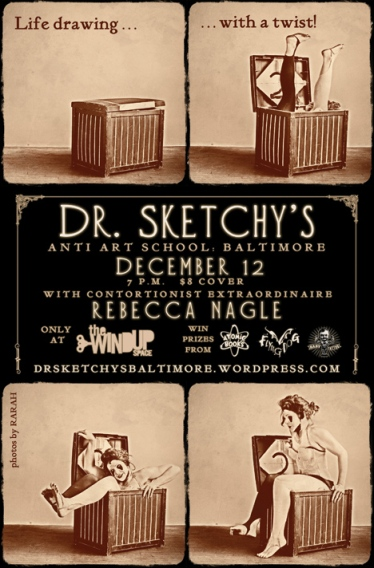 Dr. Sketchy's Baltimore with Rebecca Nagle flyer